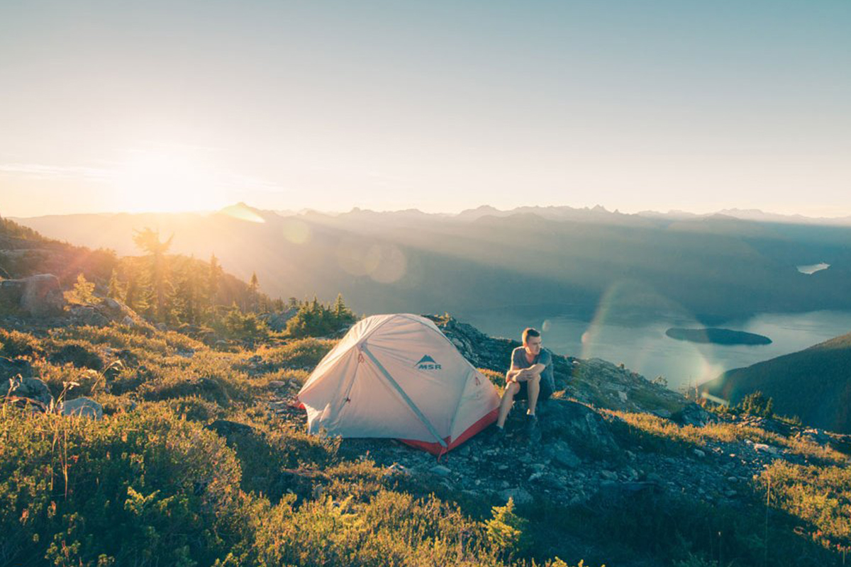 camping on hill